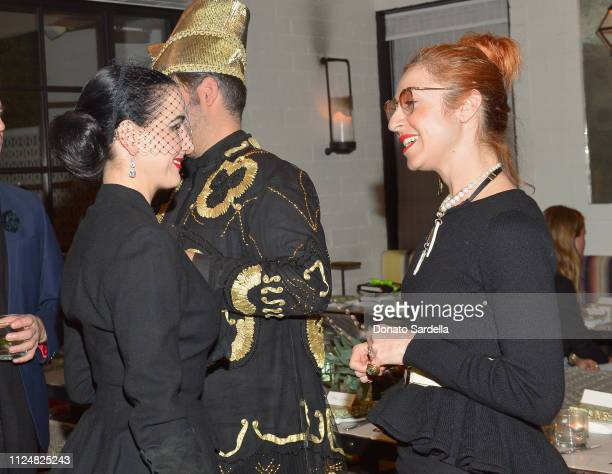 Dita Von Teese and Sonia Boyagian attend Liz Goldwyn and MATCHESFASHIONCOM celebrate the launch of Frieze LA at Gracias Madre on February 13 2019 in...