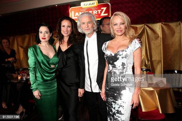 Dita von Teese Andie MacDowell Hermann Buehlbecker and Pamela Anderson during the 20th Lambertz Monday Night 2018 at Alter Wartesaal on January 29...