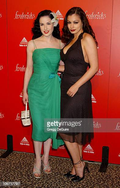 Dita Von Teese Aria Giovanni during Smashbox Fashion Week Los Angeles Frederick's of Hollywood Fashion Show Fall 2003 Collection to benefit...