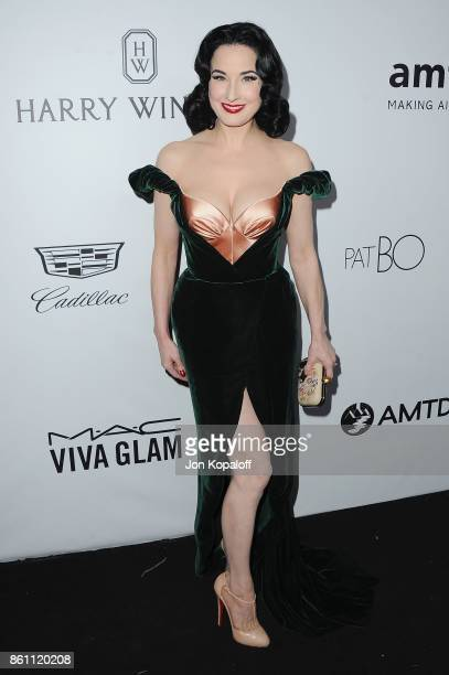 Dita Von Teese arrives at amfAR Los Angeles 2017 at Ron Burkleâs Green Acres Estate on October 13 2017 in Beverly Hills Californi