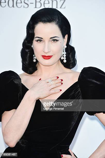 Dita Von Teese arrives at amfAR's 20th Annual Cinema Against AIDS at Hotel du CapEdenRoc on May 23 2013 in Cap d'Antibes France
