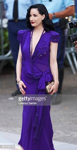 Dita Von Teese arrives at amfAR's Cinema Against AIDS 2008 benefit held at Le Moulin de Mougins during the 61st International Cannes Film Festival on...