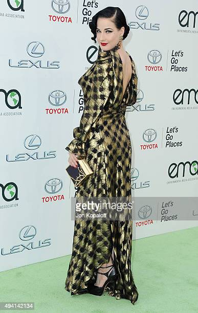 Dita Von Teese arrives at Environmental Media Association Hosts Its 25th Annual EMA Awards Presented By Toyota And Lexus at Warner Bros Studios on...