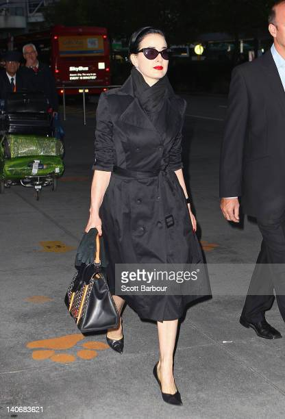 Dita Von Teese arrives at Melbourne Airport on March 5, 2012 in Melbourne, Australia.