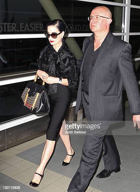 97c7126b6582 Dita Von Teese arrives at Melbourne International Airport on October 24  2011 in Melbourne Australia