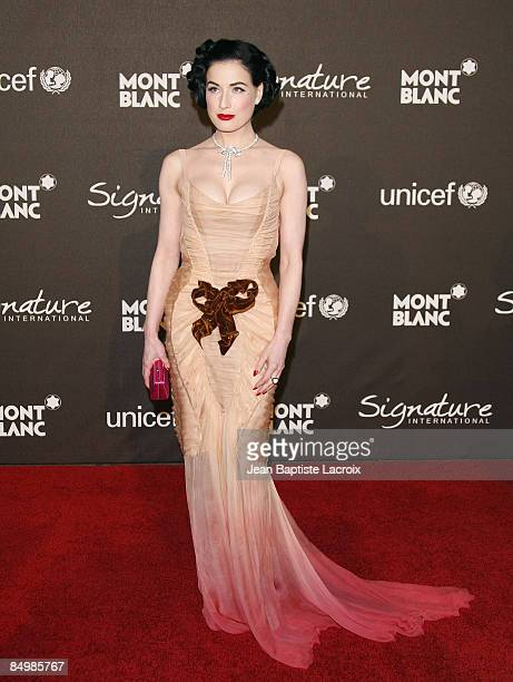 Dita Von Teese arrives at Montblanc Signature for Good Charity Gala at Paramount Studios on February 20 2009 in Los Angeles California