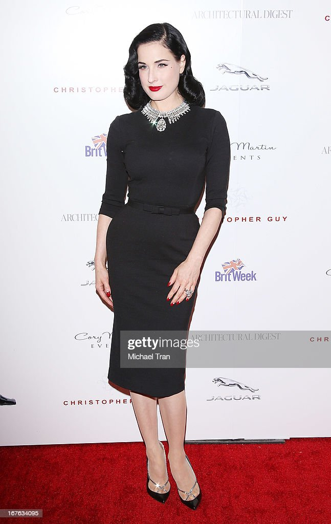 Dita Von Teese arrives at the 7th Annual Britweek: BritWeek Design Icon Award presentation held at Christopher Guy West Hollywood Showroom on April 26, 2013 in West Hollywood, California.