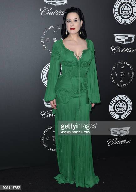 Dita Von Teese arrives at The Art of Elysium's 11th Annual Celebration Heaven at Barker Hangar on January 6 2018 in Santa Monica California