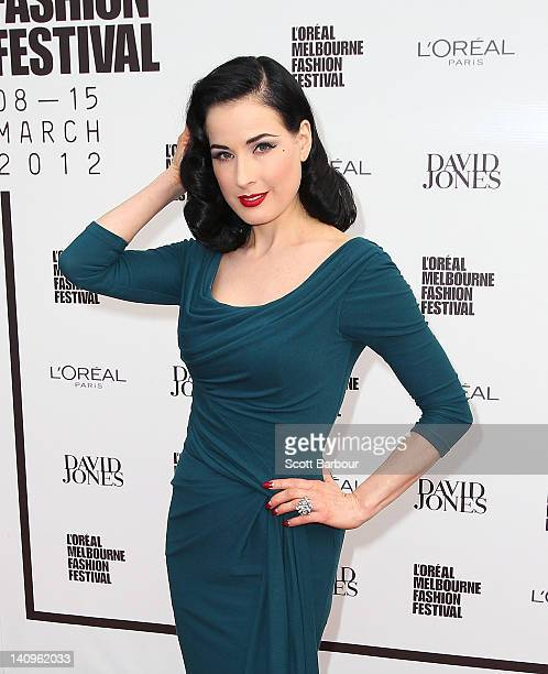 7ee7c7a7b566 Dita Von Teese arrives at the David Jones Show and launch of L Oreal  Melbourne