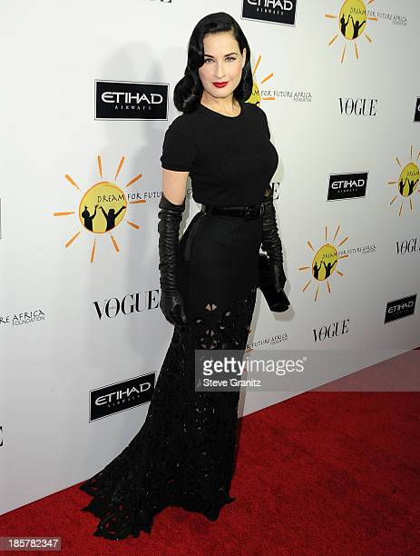 Dita Von Teese arrives at the Gelila And Wolfgang Puck's Dream For Future Africa Foundation Gala at Spago on October 24, 2013 in Beverly Hills,...
