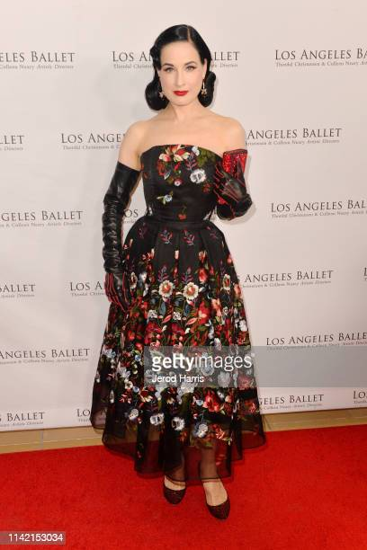 Dita Von Teese arrives at the Los Angeles Ballet's 2019 Gala at The Beverly Hilton Hotel on April 11 2019 in Beverly Hills California