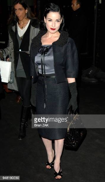 Dita Von Teese arrives at the Marc Jacobs fashion show held at the Lexington Armory during the FallWinter 2006 Olympus Fashion Week New York City...