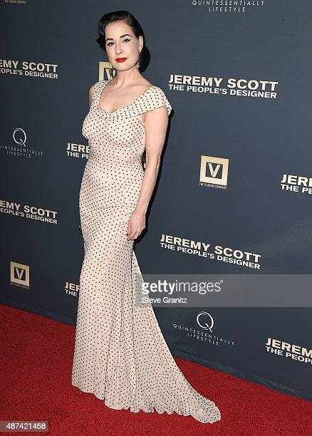 Dita Von Teese arrives at the Premiere Of The Vladar Company's Jeremy Scott The People's Designer at TCL Chinese 6 Theatres on September 8 2015 in...