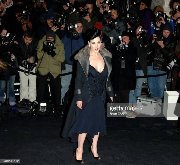 Dita Von Teese arrives at the Versace boutique cocktail party to celebrate the reopening of the Versace store on Fifth Avenue New York City BRIAN ZAK