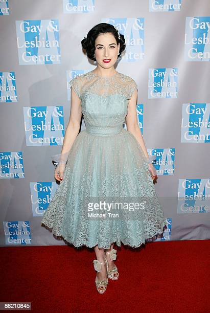 Dita Von Teese arrives to 'An Evening with Women Celebrating Art Music Equality' presented by the LA Gay Lesbian Center held at The Beverly Hilton...