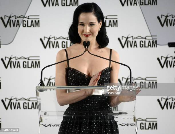 Dita Von Teese at a Press Conference for MAC Aids Fund's New Viva Glam VI Campaign held at The Rainbow Room New York City BRIAN ZAK