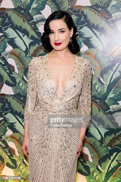 Dita Von Teese attends a performance by Dita Von Teese and The Copper Coupe at The Box Soho on November 14 2018 in London England