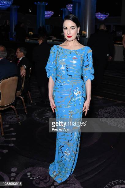 Dita Von Teese attends American Ballet Theatre's Annual Holiday Benefit - Inside at The Beverly Hilton Hotel on December 17, 2018 in Beverly Hills,...