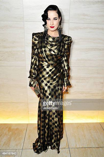 Dita Von Teese attends Flaunt Magazine and Luisaviaroma celebrate the contributors' launch of the CALIFUK issue at Milk Studios on October 24 2015 in...
