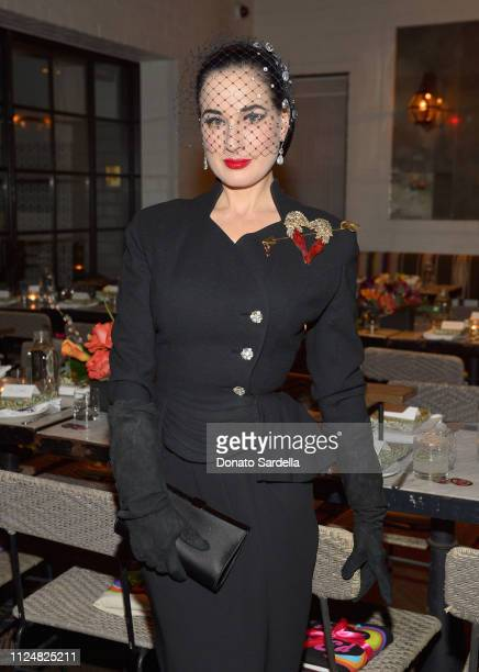 Dita Von Teese attends Liz Goldwyn and MATCHESFASHIONCOM celebrate the launch of Frieze LA at Gracias Madre on February 13 2019 in West Hollywood...