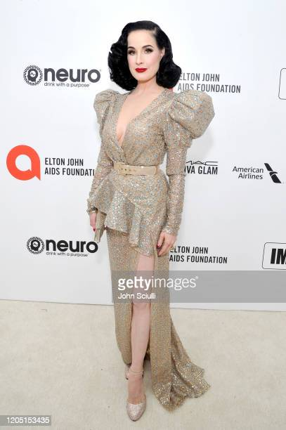 Dita Von Teese attends Neuro Brands Presenting Sponsor At The Elton John AIDS Foundation's Academy Awards Viewing Party on February 09, 2020 in West...