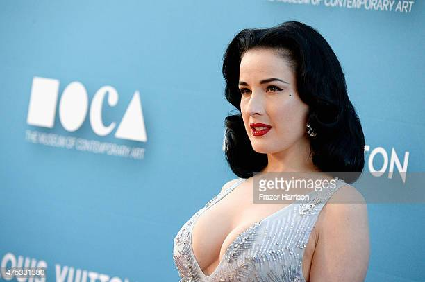 Dita Von Teese attends the 2015 MOCA Gala presented by Louis Vuitton at The Geffen Contemporary at MOCA on May 30 2015 in Los Angeles California...