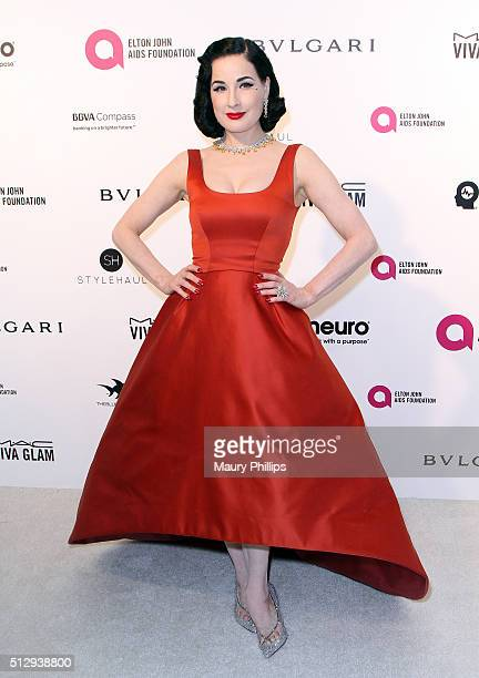 Dita Von Teese attends the 24th Annual Elton John AIDS Foundation's Oscar Viewing Party Arrivals on February 28 2016 in West Hollywood California