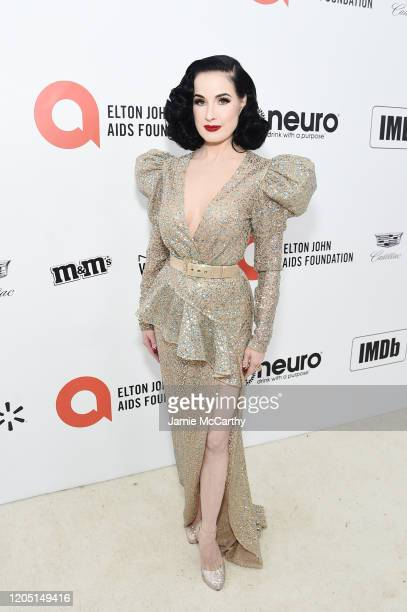 Dita Von Teese attends the 28th Annual Elton John AIDS Foundation Academy Awards Viewing Party sponsored by IMDb, Neuro Drinks and Walmart on...