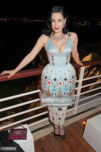 Dita Von Teese attends the after party at amfAR's 22nd Cinema Against AIDS Gala Presented By Bold Films And Harry Winston at Hotel du CapEdenRoc on...