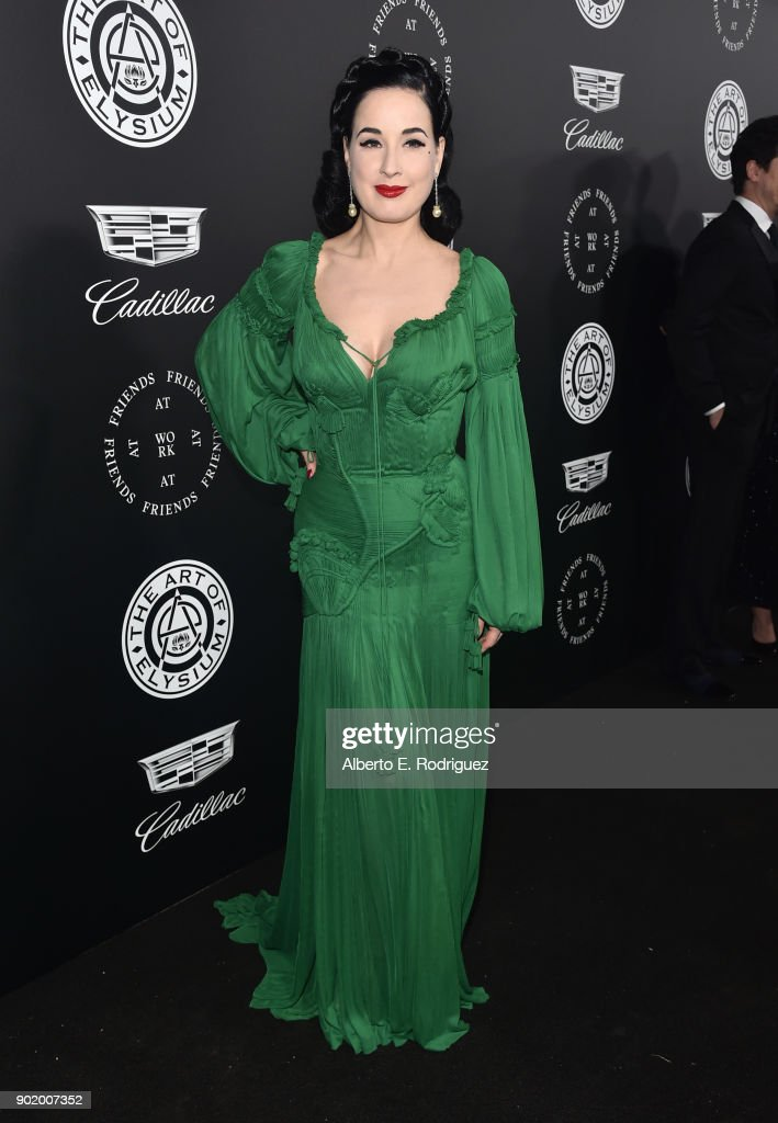 Dita Von Teese attends The Art Of Elysium's 11th Annual Celebration on January 6, 2018 in Santa Monica, California.