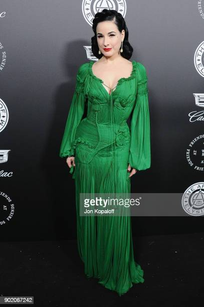 Dita Von Teese attends The Art Of Elysium's 11th Annual Celebration Heaven at Barker Hangar on January 6 2018 in Santa Monica California