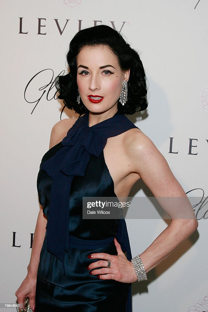Dita Von Teese attends the book release party for Patrick McMullan's 'Glamour Girls' at The Terrace at the Sunset Tower Hotel in West Hollywood, California on February 19, 2008.