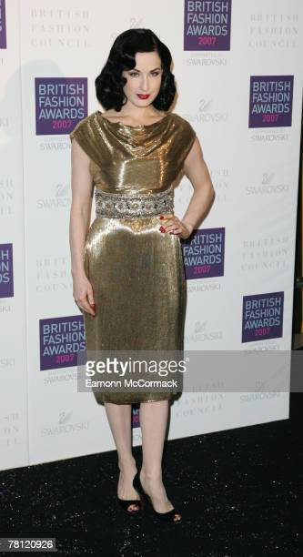 Dita Von Teese attends the British Fashion Awards at the Royal Horticultural Halls on November 27, 2007 in London, England.