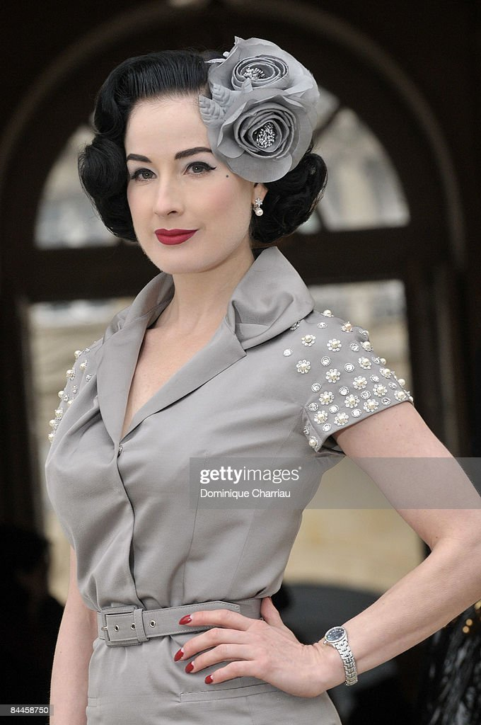 Dita Von Teese attends the Christian Dior fashion show during during Paris Fashion Week Haute Couture Spring/Summer 2009 at Musee Rodin on January 26, 2009 in Paris, France.