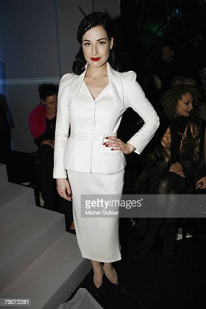 Dita von Teese attends the Christian Dior Fashion show during Paris Fashion Week SpringSummer 2007 at Polo de Paris on January 22 2007 in Paris France
