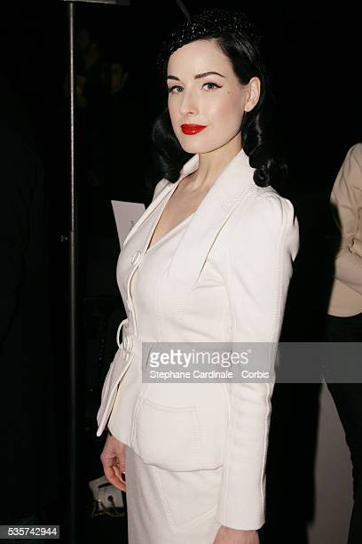 Dita Von Teese attends the Christian Dior Spring/Summer 20072008 Haute Couture fashion show during Paris Fashion Week
