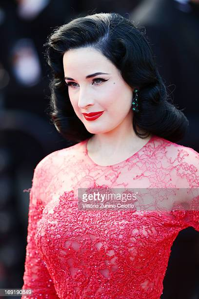 Dita Von Teese attends the Cleopatra Premiere during the 66th Annual Cannes Film Festival at Grand Theatre Lumiere on May 21 2013 in Cannes France