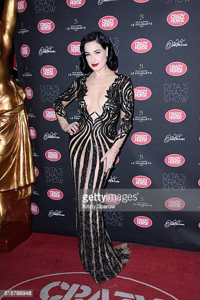 Dita Von Teese attends the 'Dita Von Teese's Crazy Show' opening night photocall at Le Crazy Horse on March 15 2016 in Paris France
