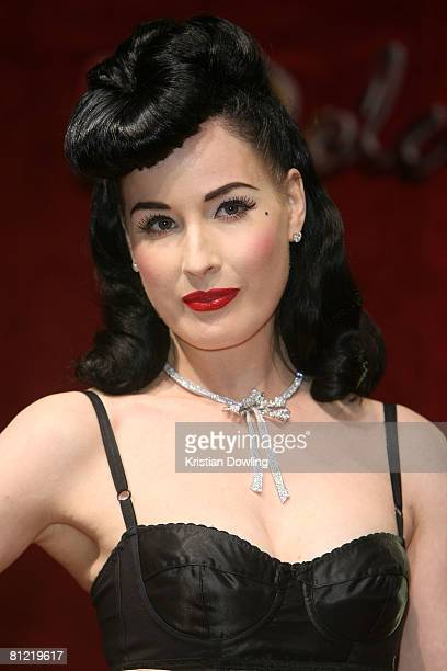 Dita Von Teese attends the Dolce Gabbana party at Baoli Port Canto during the 61st International Cannes Film Festival on May 23 2008 in Cannes France