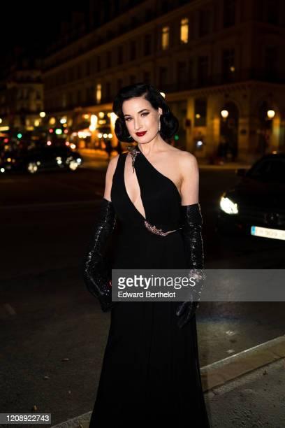 Dita Von Teese attends the Harper's Bazaar Exhibition as part of the Paris Fashion Week Womenswear Fall/Winter 2020/2021 At Musee Des Arts Decoratifs...