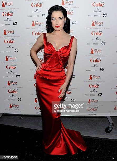 Dita Von Teese attends the Heart Truth's Red Dress Collection 2011 during MecerdesBenz fashion week at The Theatre at Lincoln Center on February 9...