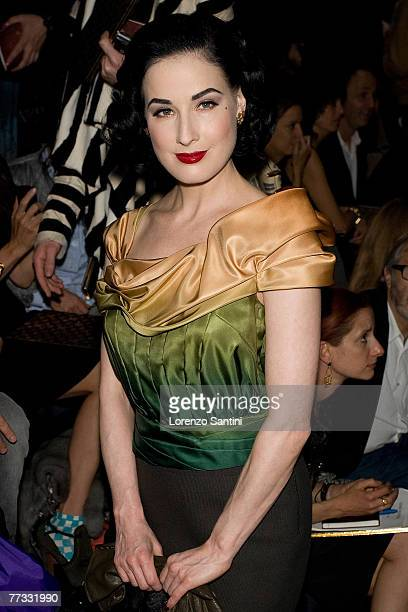Dita Von Teese attends the Louis Vuitton Fashion Show, during the Spring/Summer 2008 ready-to-wear collection show at Cour carree du Louvre on...