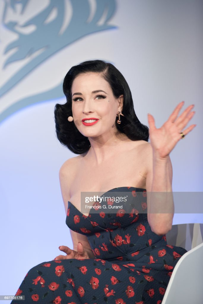 Dita Von Teese attends the 'Melody, Harmony and Metadata: Understanding People Through Music' Talk, hosted by Spotify during the Cannes Lions Festival 2017 on June 19, 2017 in Cannes, France.