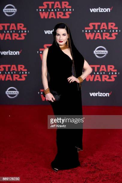 Dita Von Teese attends the premiere of Disney Pictures and Lucasfilm's 'Star Wars The Last Jedi' at The Shrine Auditorium on December 9 2017 in Los...