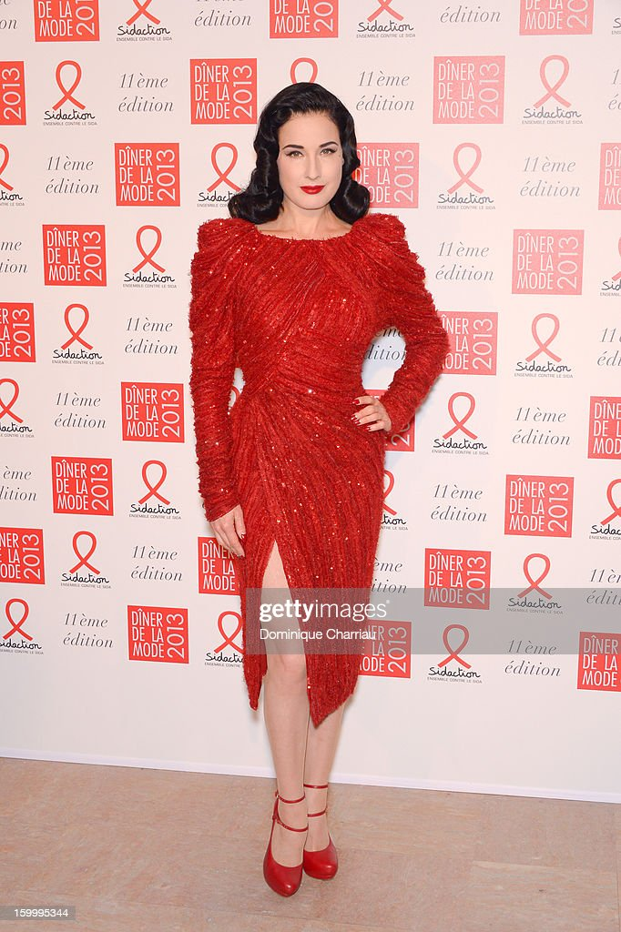 Dita Von Teese attends the Sidaction Gala Dinner 2013 at Pavillon d'Armenonville on January 24, 2013 in Paris, France.