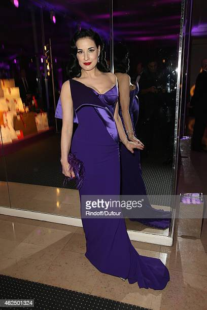 Dita von Teese attends the Sidaction Gala Dinner 2015 at Pavillon d'Armenonville on January 29 2015 in Paris France