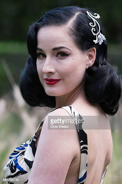 Dita Von Teese attends The Unveiling at Niwaka Fine Jewelry at the Schindler House on September 1 2015 in Los Angeles California
