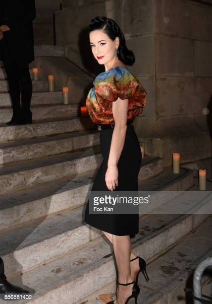 Dita Von Teese attends The Vogue Party Outside Arrivals as part of the Paris Fashion Week Womenswear Spring/Summer 2018 on October 1 2017 in Paris...