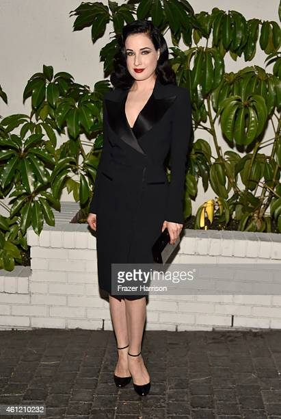 Dita Von Teese attends the W Magazine celebration of the 'Best Performances' Portfolio and The Golden Globes with Cadillac and Dom Perignon at...