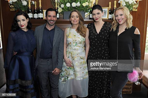 Dita Von Teese Christopher Gialanella Vitalie Taittinger Jodi Lyn O'Keefe and Meg McGuire attend the Champagne Taittinger ANGELENO Celebrate...